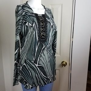 ALBERTO MAKALI Crinkle Pleated Blouse Tunic Top L